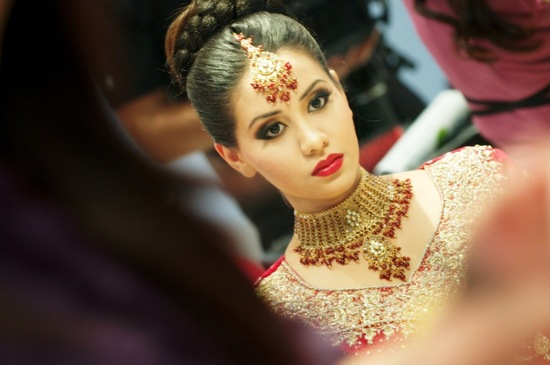 bridal beauty inspiration red lips wedding makeup Indian bride