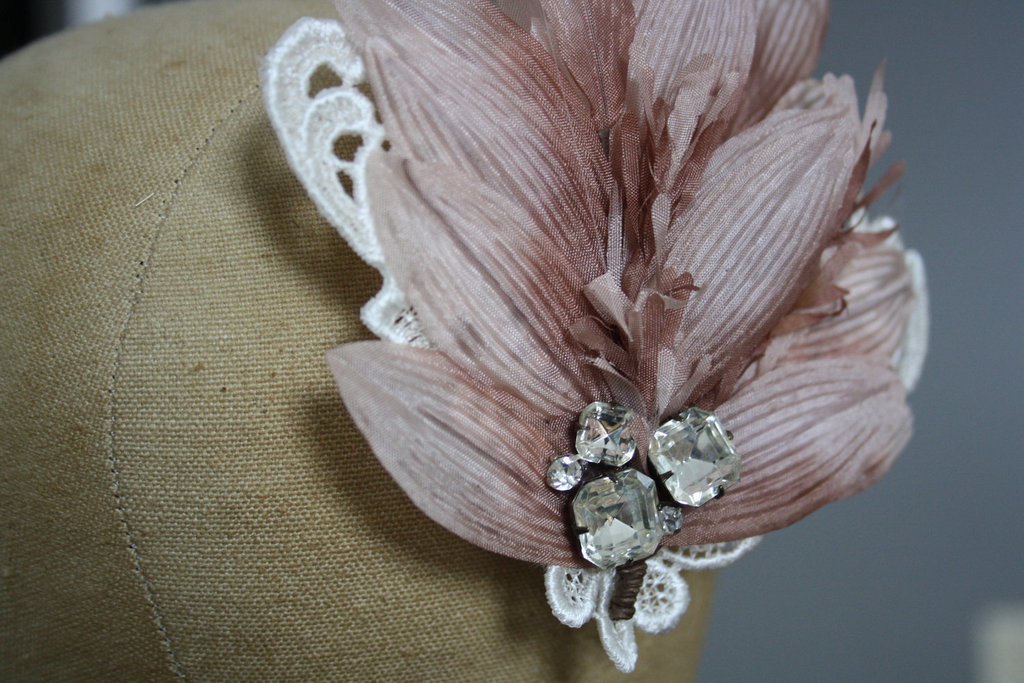 romantic wedding color inspiration soft mauve from Etsy fascinator