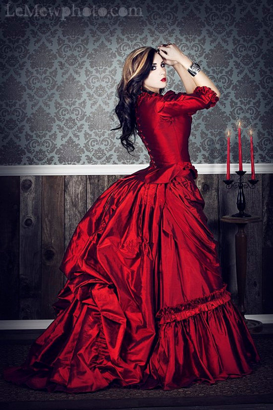 gothic wedding style handmade bridal gowns in bold colors 2