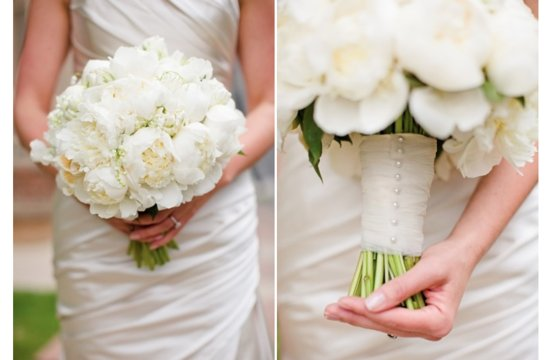 White Peony Bridal Bouquet with Parrot Tulips