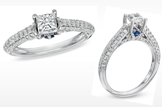 Vera Wang LOVE engagement ring- princess cut with diamond shank