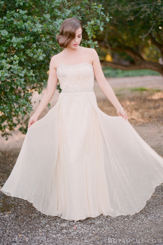 Beige beaded wedding dress