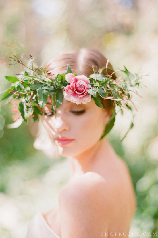 Romantic floral crown for outdoor weddings
