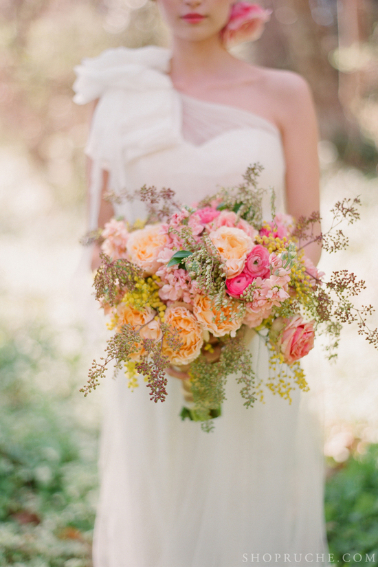 Peach green and pink wedding flower bouquet