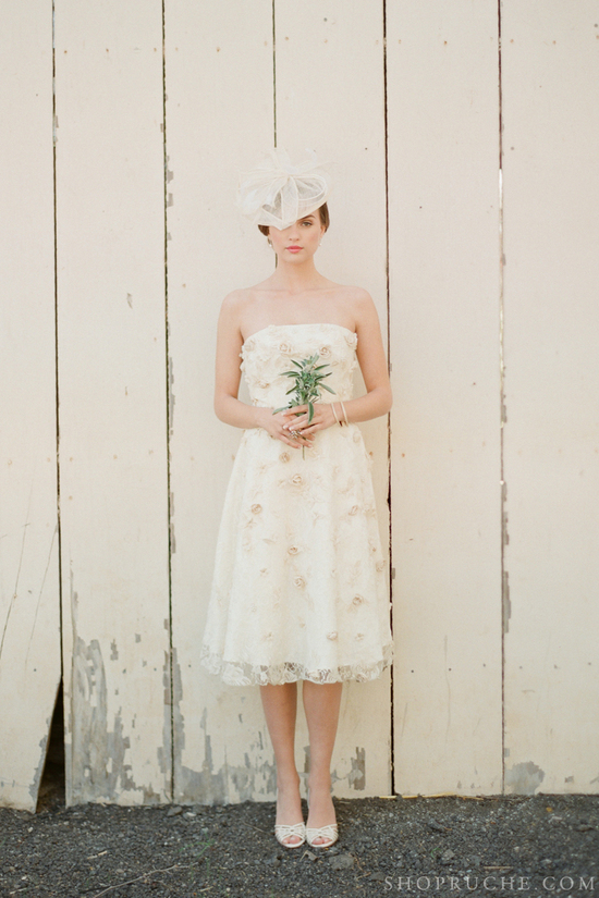 Rosette embellished beaded wedding dress
