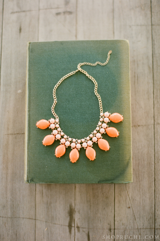 Coral and gold statement wedding necklace