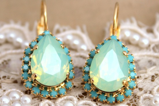 Mint gold turquoise wedding earrings