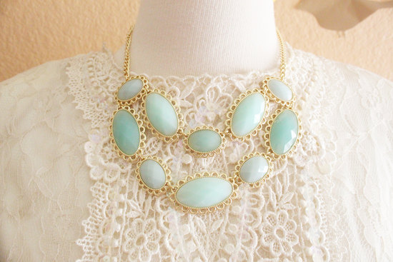 Mint and gold wedding necklace lace gown