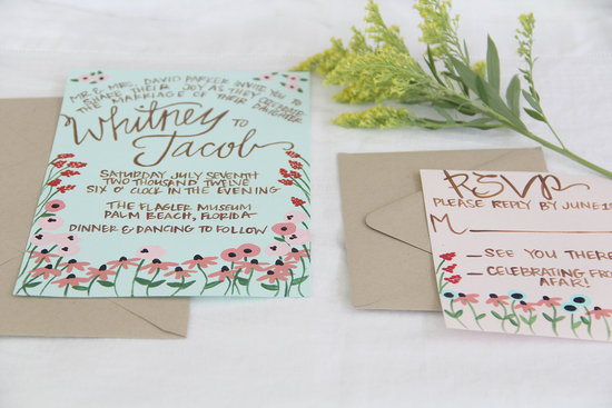 Mint and blush handpainted wedding invites