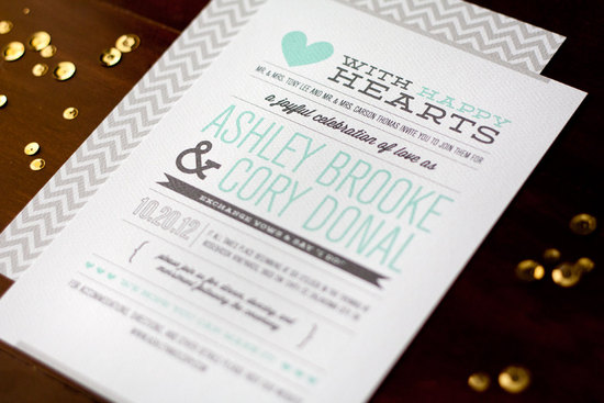 Mint charcoal and gray wedding invitations