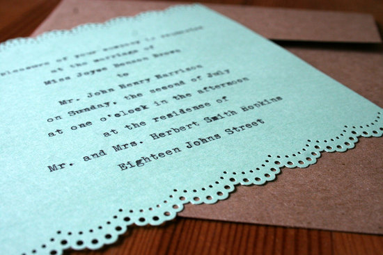 Mint typewriter style wedding invitation