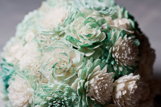 Mint and ivory alternative wedding bouquet