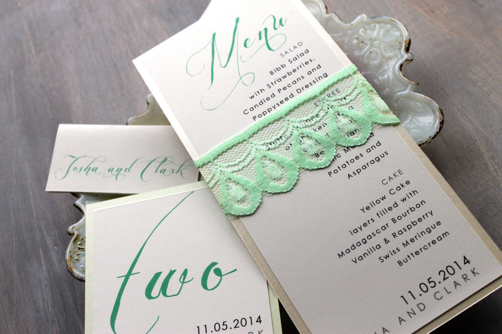 Lace wrapped wedding invitation mint ecru pearl