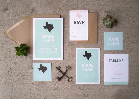 Texas pastels wedding invitations
