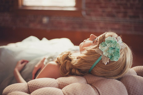 Vintage mint headband for bridesmaids
