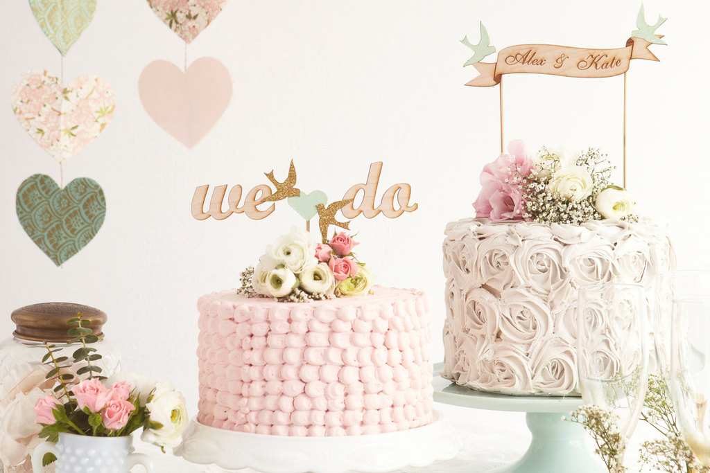 Romantic spring pastels wedding cakes and toppers