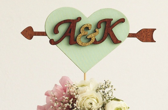 Mint gold and wood wedding cake topper