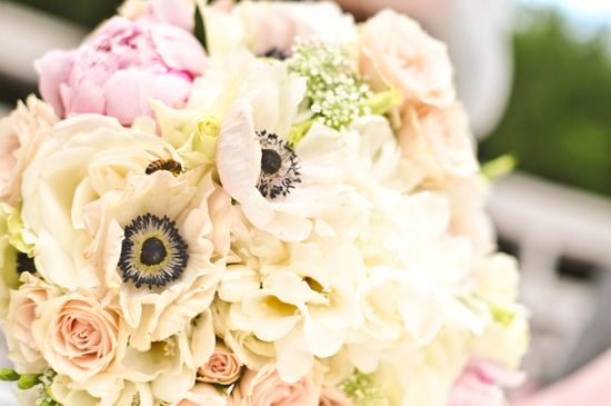 Dreamy bridal bouquet with anemones and roses