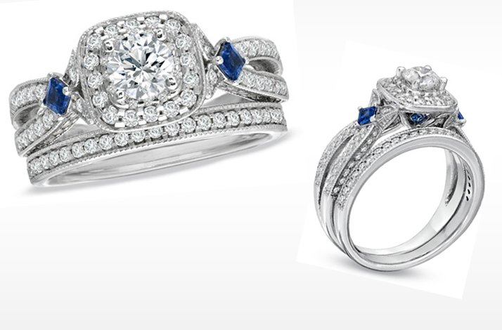 Wang LOVE engagement ring Diamond and sapphire wedding ring set