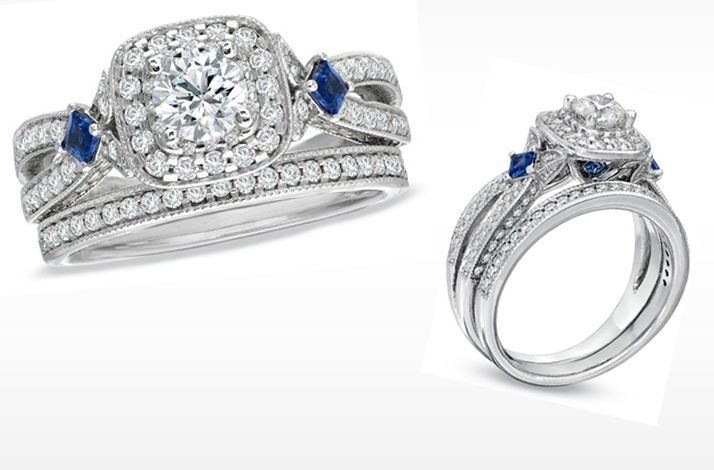 Sapphire And Diamond Bridal Ring Set