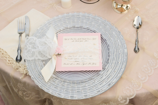 Silver Cream Light Pink wedding reception place setting