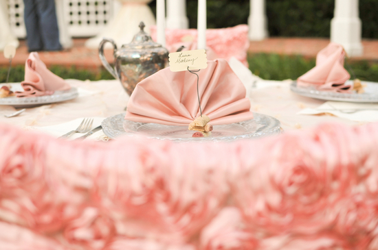Romantic pink wedding reception table