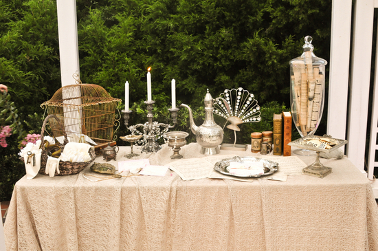Florida wedding shoot vintage with euro flair welcome table