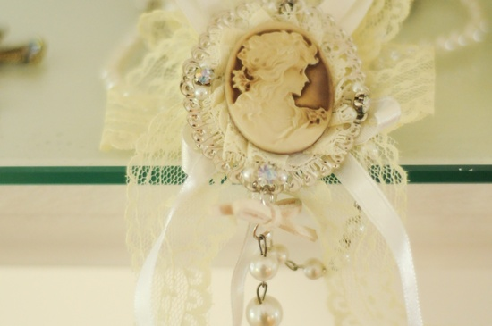 Vintage cameo wedding bouquet charm