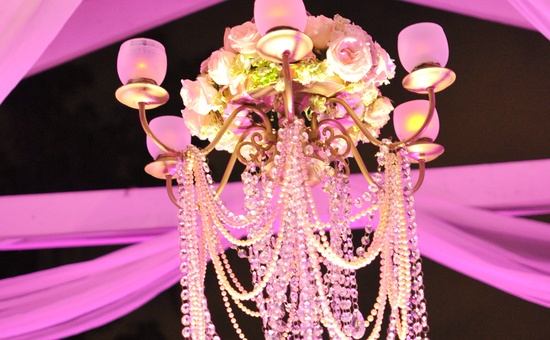 Sparkling chandelier with roses