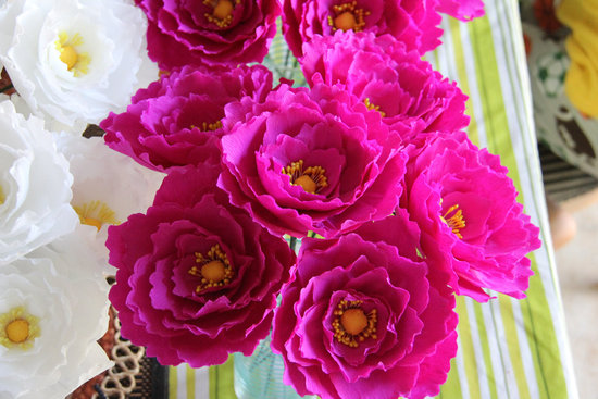 Bright fuschia crepe paper peony wedding flowers