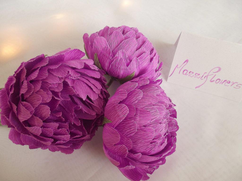 Purple paper peonies wedding flower alternatives