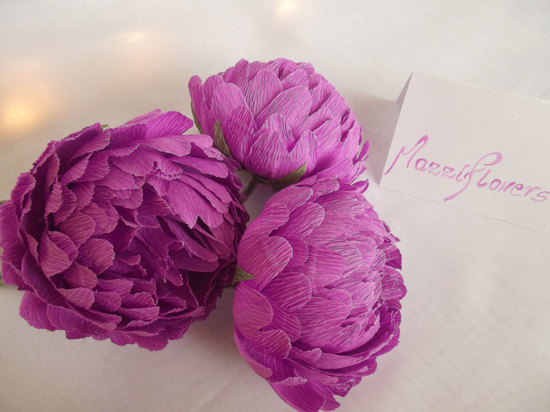 Purple paper peonies wedding flower alternatives