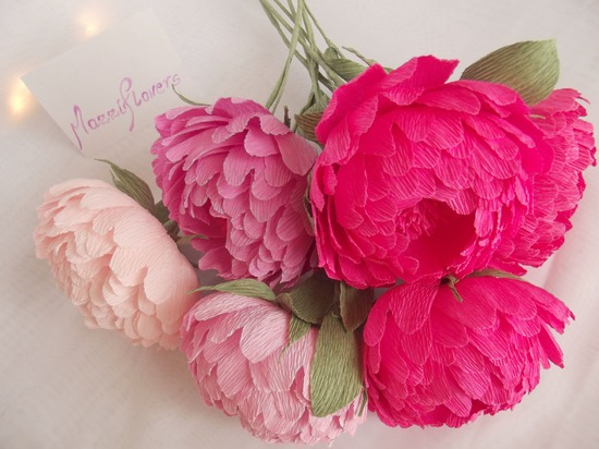Hot pink and pastel pink peony paper wedding flowers