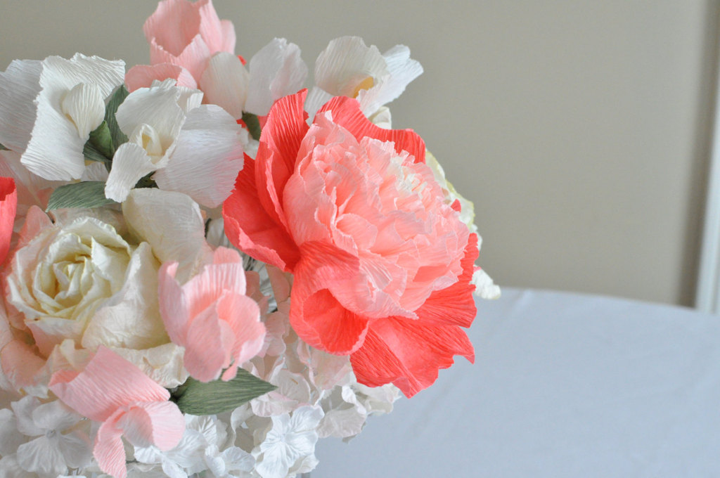 Peony and gardenia paper flower wedding centerpiece