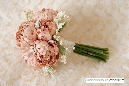 Alternative wedding bouquet dusty rose peonies