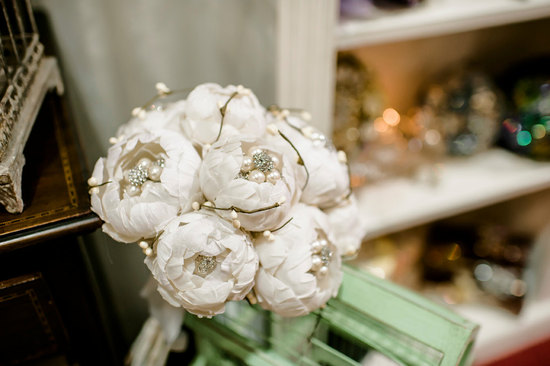White paper peonies brooch wedding bouquet