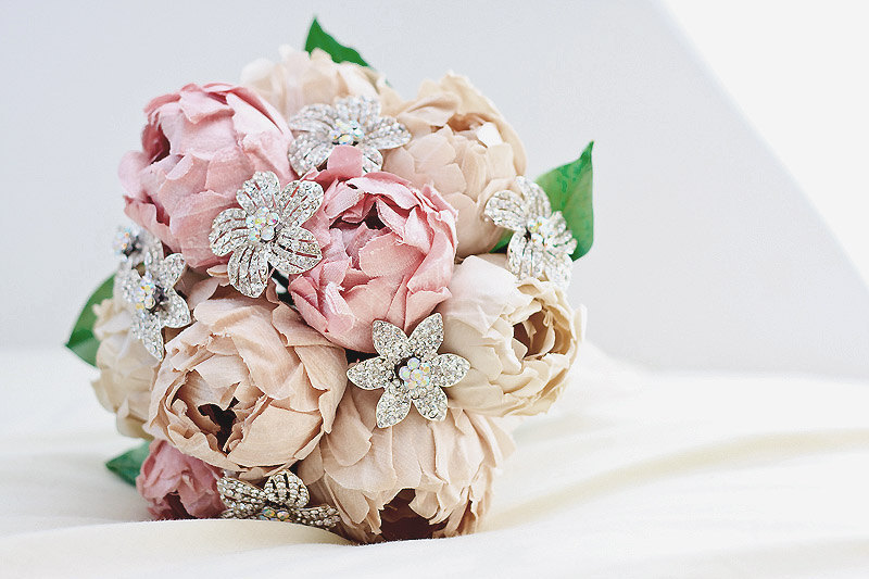Wedding Bouquet Brooches Vintage Paper Peonies And Onewed