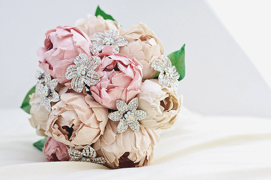 Paper peonies and vintage brooches wedding bouquet