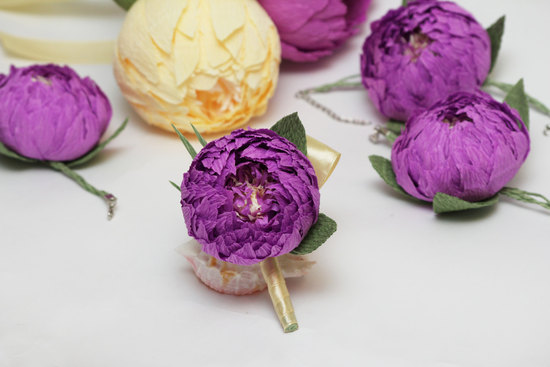 Purple paper peonies for grooms boutonniere