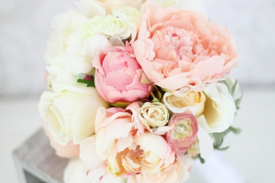 Silk peonies in blush and pastel peach alternative wedding bouquet