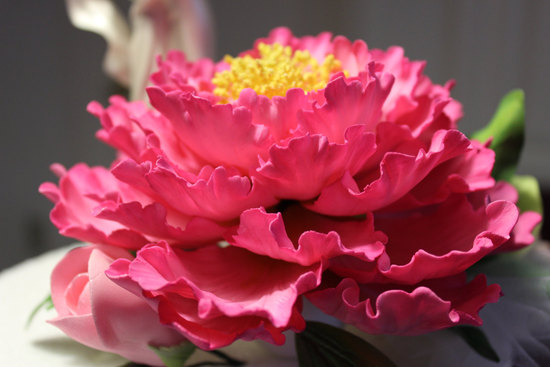 Pink gumpaste peony for wedding cake topper