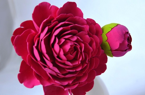 Hot pink clay peony wedding flowers
