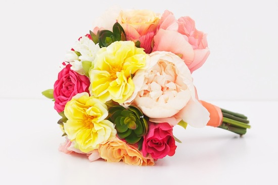 Vibrant eco friendly wedding bouquet