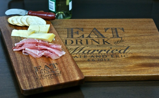 Engraved cheese plate and cutting board for bride and groom