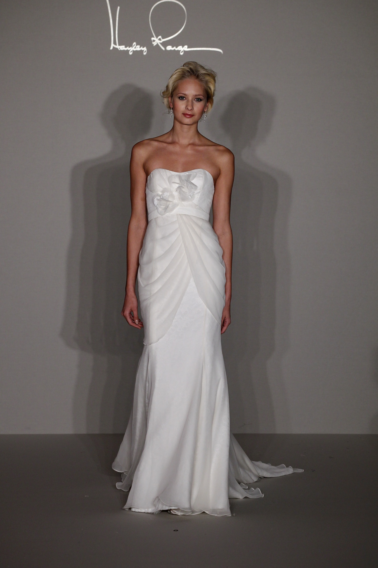 Hayley Paige 2012 Column Wedding Dress With Fabric Flower Detail