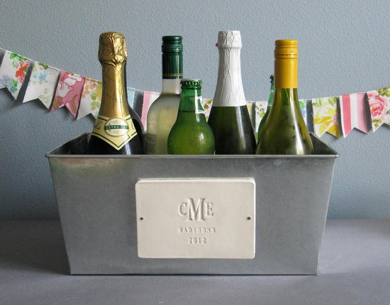 Engraved champagne tub for bride and groom