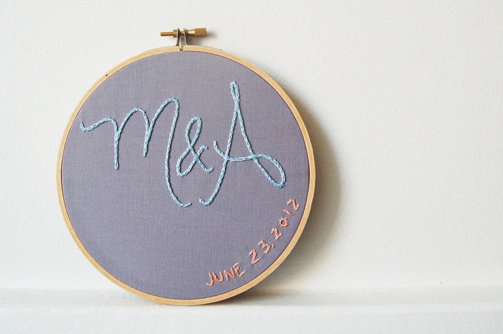 Embroidered hoop art custom wedding gift