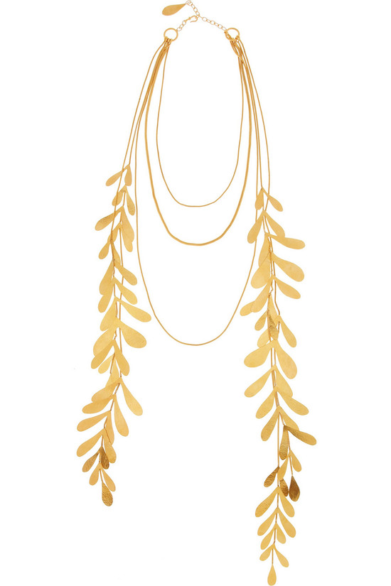 Gold leaf multi strand wedding necklace