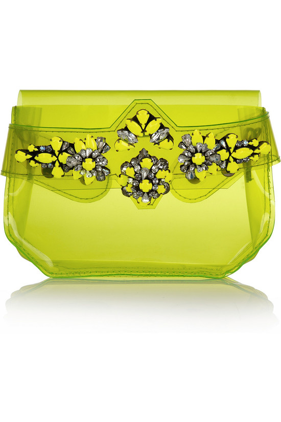 Neon Lime transparent wedding clutch