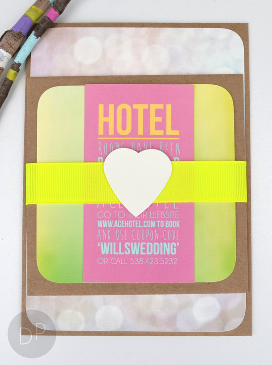 Modern neon wedding invitation suite
